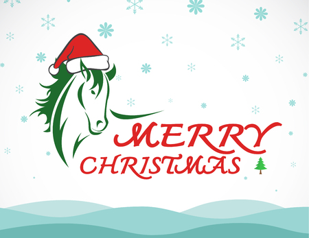 Vector merry christmas greeting card horse on whiet background