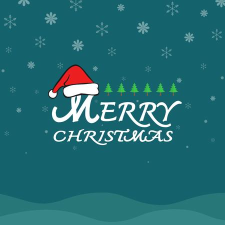 blue card: Vector merry christmas greeting card on dark blue background Illustration