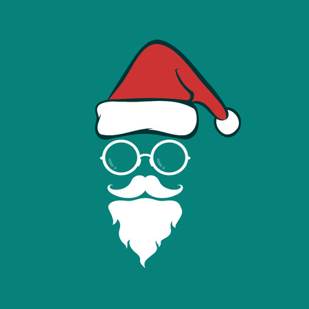 wearing santa hat: Santa hats and beards and eyeglasses on blue background. Christmas icon Illustration