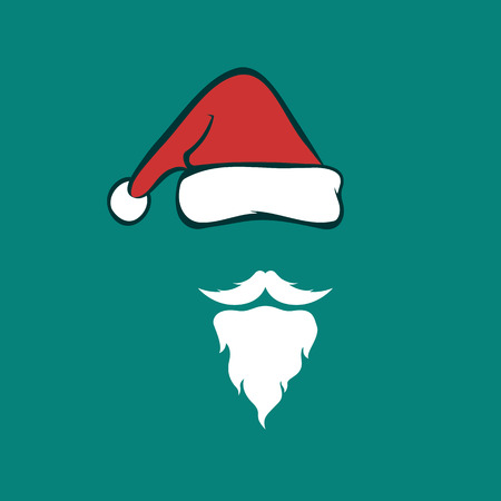 Vector image of an santa hats and beards on blue background. Christmas icon