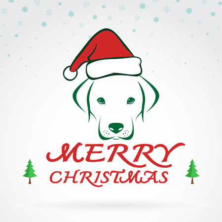 vector image: Vector image of an dog and santa hats on white background.  Merry Christmas lettering Illustration