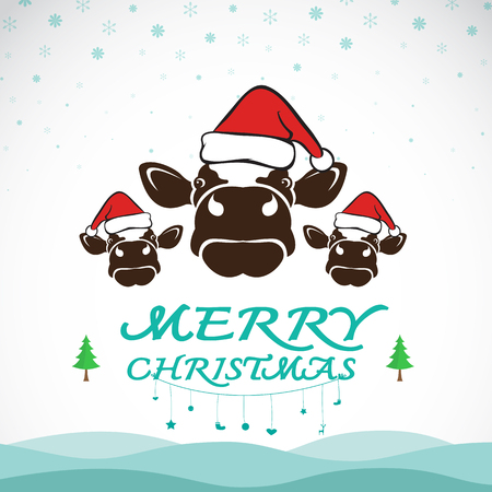 celebration background: Vector merry christmas greeting cow card on white background