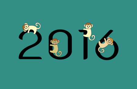 misbehave: Vector image of an monkeys and 2016 numbers on blue  background