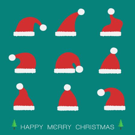 hat santa: Vector group of santa hat on blue background Illustration