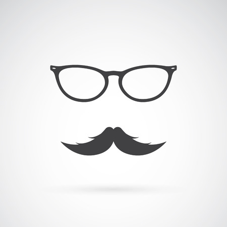 long black hair: Vector image of an glasses and mustache on white background Illustration