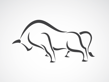 Vector image of an bull design on a white background Vectores