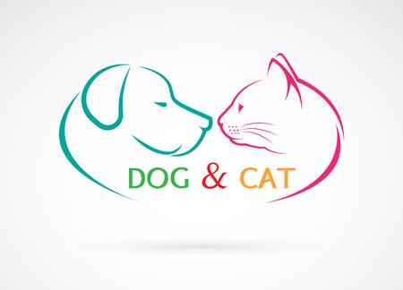 Vector afbeelding van een hond en kat op een witte achtergrond