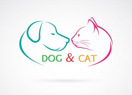 Vectorbeeld van een hond en een kat op een witte achtergrond