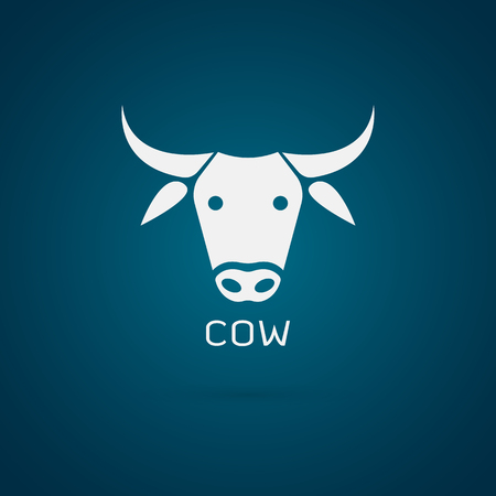 cartoon safety: Vector image of an cow head design on blue background Illustration
