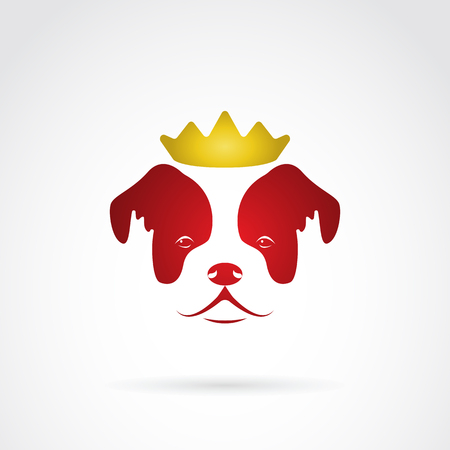 crowned: Vector image of an red dog crowned on white background. Illustration