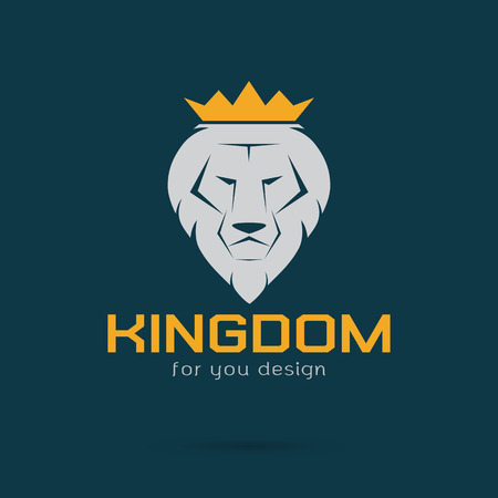 Vector image of an white lion crowned Illustration