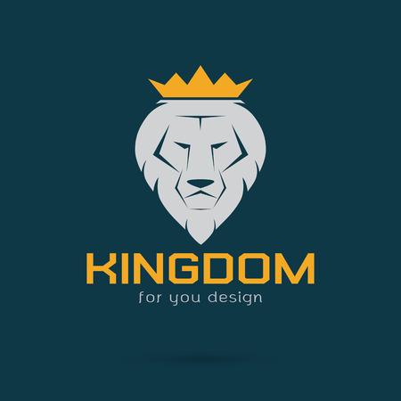 corona rey: Vector la imagen de un león blanco coronado Vectores