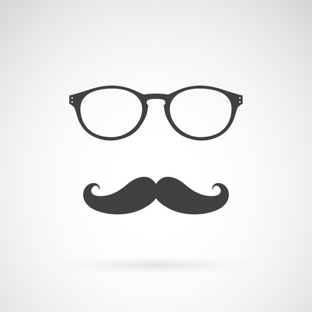 hair style: Vector image of an glasses and mustache on white background Illustration