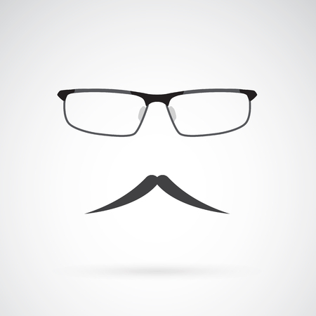 black head and moustache: Vector image of an glasses and mustache on white background Illustration