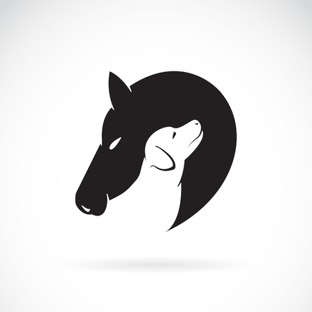 dog: Vector image of horse and dog on white background