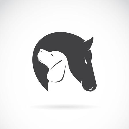 Vector beeld van paard en hond op een witte achtergrond
