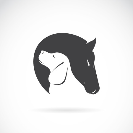 dog outline: Vector image of horse and dog on white background