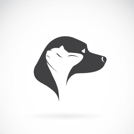 amor adolescente: Imagen del vector del perro y el gato en el fondo blanco