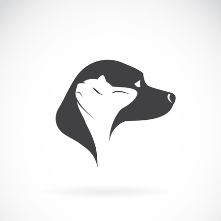 two animals: Vector image of dog and cat on white background
