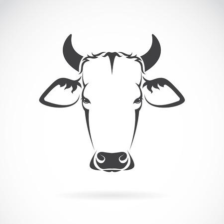Vector afbeelding van een koe hoofd op een witte achtergrond