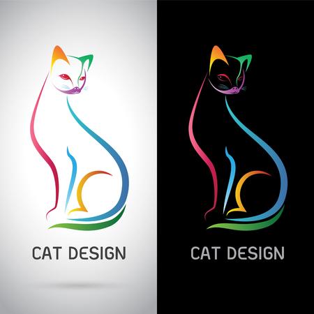silueta de gato: Vector de imagen de un diseño del gato en el fondo blanco y el fondo negro, logotipo, símbolo