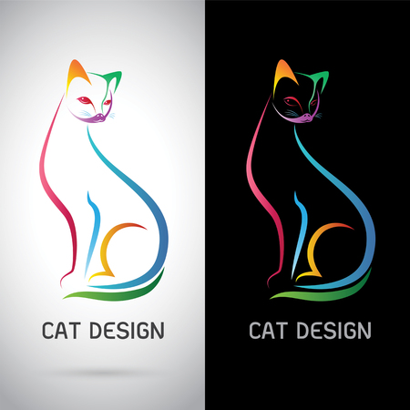 Vector image of an cat design on white background and black background, Logo, Symbol