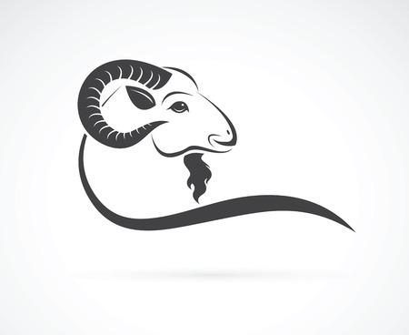 Vector afbeelding van een geitenkop ontwerp op witte achtergrond Stock Illustratie
