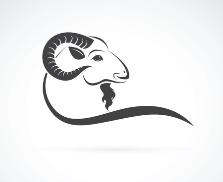 Vector image of an goat head design on white background Stok Fotoğraf - 49501233