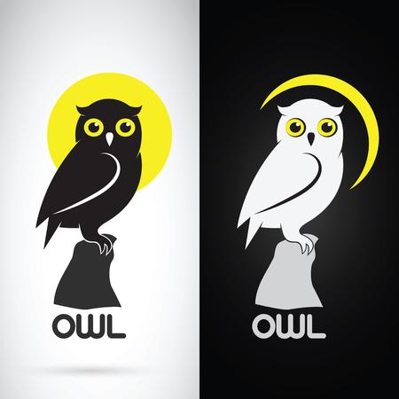 白背景と黒背景、ロゴ、シンボル フクロウ デザインのベクター画像