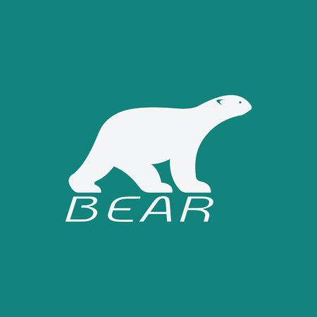 bruin: Vector image of an bear white design on blue background