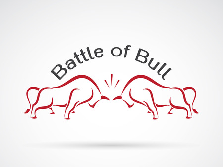 bull fight: Vector image of a bull fight on white background, Logo, Symbol