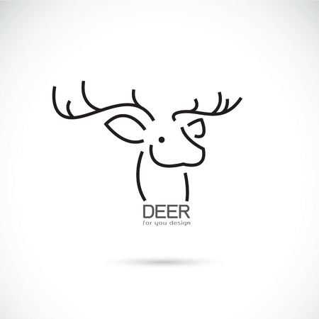 horny: Vector image of an deer head design on a white background Illustration