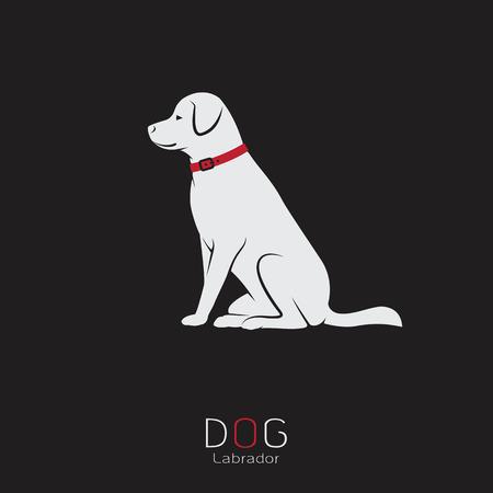 silueta: Imagen del vector de un perro labrador sobre un fondo negro