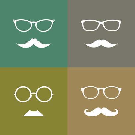 cartoon hairdresser: Vector image group of an glasses and mustache
