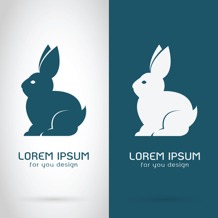 Vector image of a rabbit design on white background and blue background, Logo, Symbol,  Banners Stock Illustratie