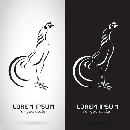 鶏の白背景と黒背景、ロゴ、シンボル、コック、酉デザインのベクター画像