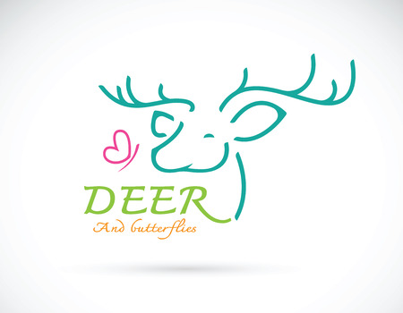 confidant: Vector image of deer and butterfly design and text on white background