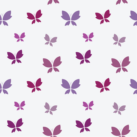 butterfly background: Vector seamless pattern with purple butterfly on white background. wallpaper