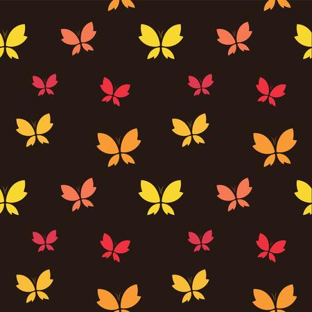 dark brown background: Vector seamless pattern with butterfly on dark brown background. wallpaper Illustration