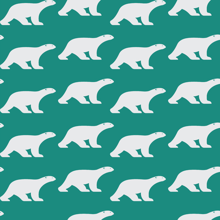 animal silhouette: Vector seamless pattern with bear on blue background. wallpaper Illustration