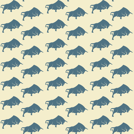 Bull vector art background design for fabric and decor. Seamless pattern Illustration