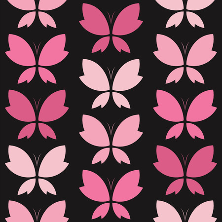 pink and black: Vector seamless pattern with pink butterfly on black background. wallpaper