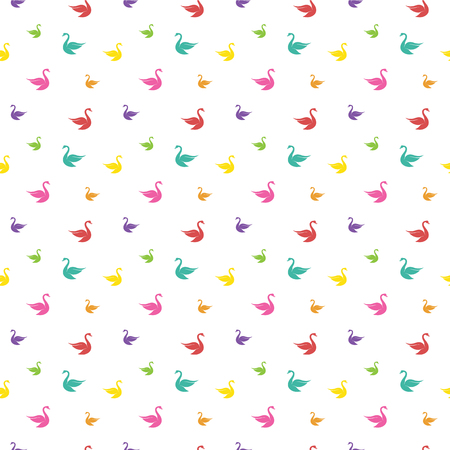 swan lake: Vector seamless pattern with swan on white background. wallpaper Illustration