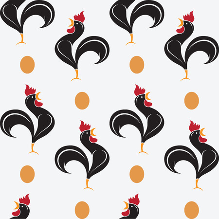 Cock vector art background design for fabric and decor. Seamless pattern Illustration