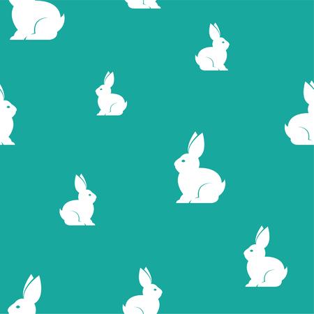 ウサギは、生地、装飾用の美術背景デザインをベクトルします。シームレス パターン