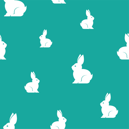 Rabbit vector art background design for fabric and decor. Seamless pattern Vettoriali