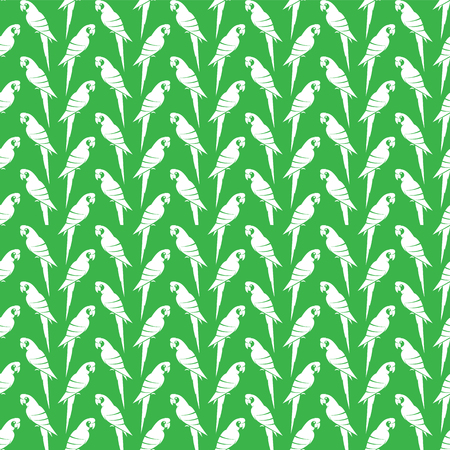 aviary: Vector seamless pattern with white parrot on green background. wallpaper