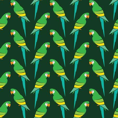 guacamaya caricatura: Diseño del loro de fondo de arte vectorial para la tela y decoración. Patrón transparente Vectores