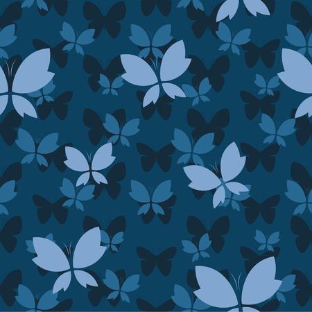 Modèle sans couture de vecteur avec papillon sur fond bleu foncé. fond d'écran