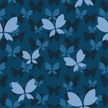 Vector naadloos patroon met vlinder op donkerblauwe achtergrond. behang